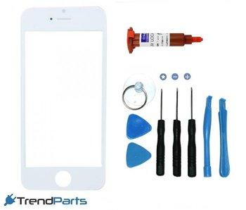 Front glas voor IPHONE 5, 5S, 5C & SE glasplaat Wit/White inclusief tools en UV LOCA LIJM voor reparatie