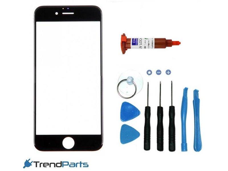 Front glas voor IPHONE 7 PLUS glasplaat Zwart/Black inclusief tools en UV LOCA LIJM voor reparatie