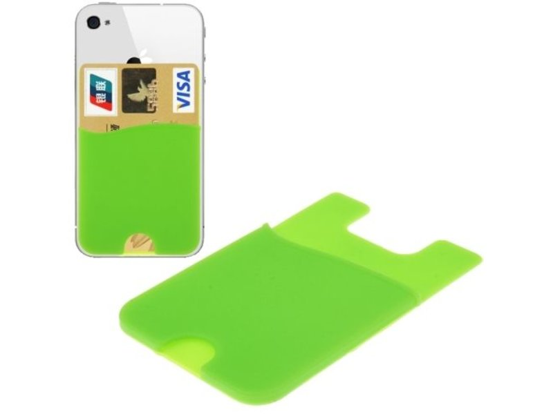 Super Handige Sticky Pouch Kaarthouder/Card Holder/Pasjes Houder universeel voor o.a. iPhone en Samsung GROEN (case cover hoesje)