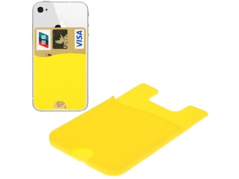 Super Handige Sticky Pouch Kaarthouder/Card Holder/Pasjes Houder universeel voor o.a. iPhone en Samsung GEEL (case cover hoesje)