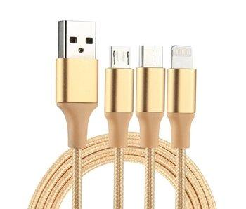 3 in 1 USB naar iPhone connector + USB-C + Micro USB oplader kabel Goud/Gold 1,2 meter