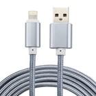 2 Meter geweven premium oplader kabel adapter Zilver/Silver geschikt voor iPhone/iPad