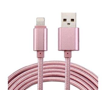 2 Meter geweven premium oplader kabel Roze/Pink geschikt voor iPhone/iPad (8-pin)