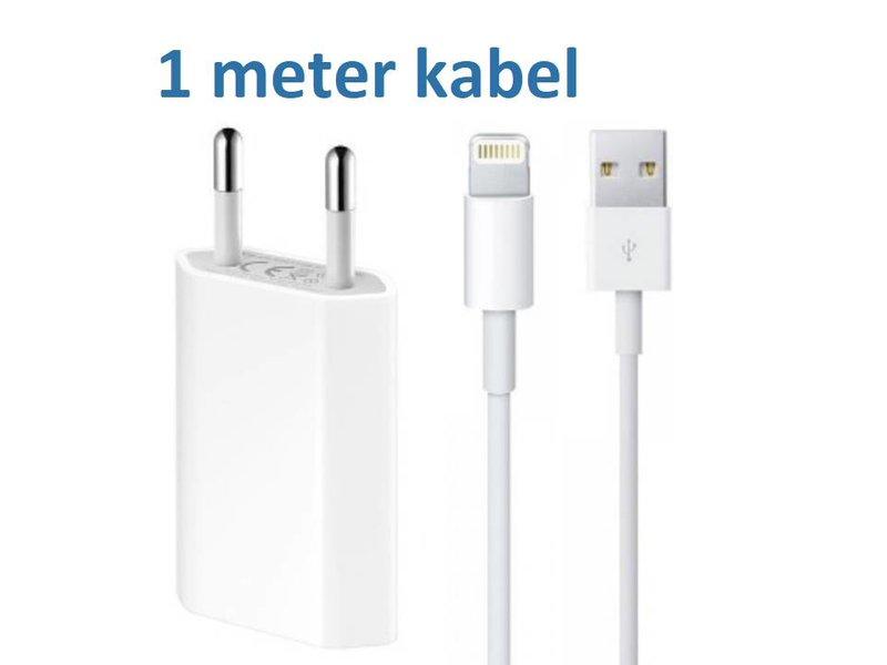 USB adapter + oplader kabel van 1 meter geschikt voor iPhone en iPad