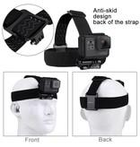 Hoofdband head strap met antislip hoofdbevestiging + power screw voor o.a. GoPro Hero 3/3+/4/5/6 en SJCAM