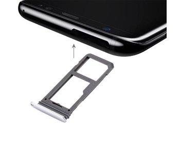 Dual simkaart houder voor Samsung Galaxy S8 Zilver / Silver simkaarthouder reparatie onderdeel