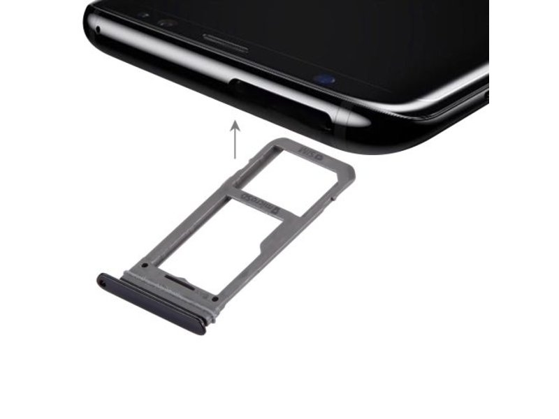 Dual simkaart houder voor Samsung Galaxy S8 Zwart / Black simkaarthouder reparatie onderdeel