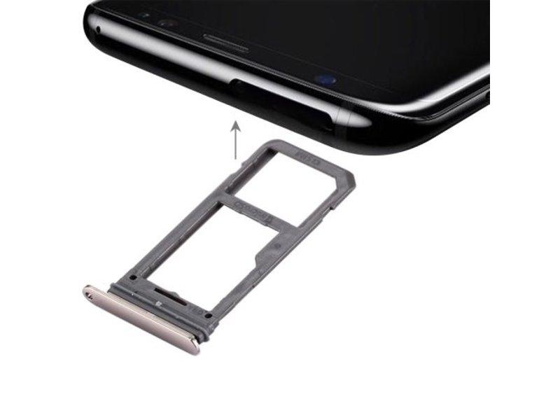 Dual simkaart houder voor Samsung Galaxy S8 PLUS (+) Goud / Gold simkaarthouder reparatie onderdeel