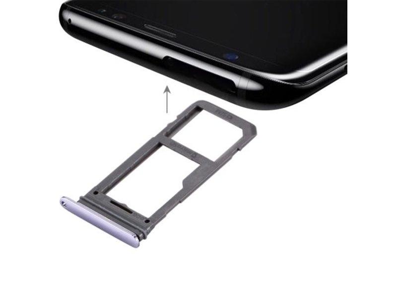 Dual simkaart houder voor Samsung Galaxy S8 PLUS (+) Grijs / Grey simkaarthouder reparatie onderdeel