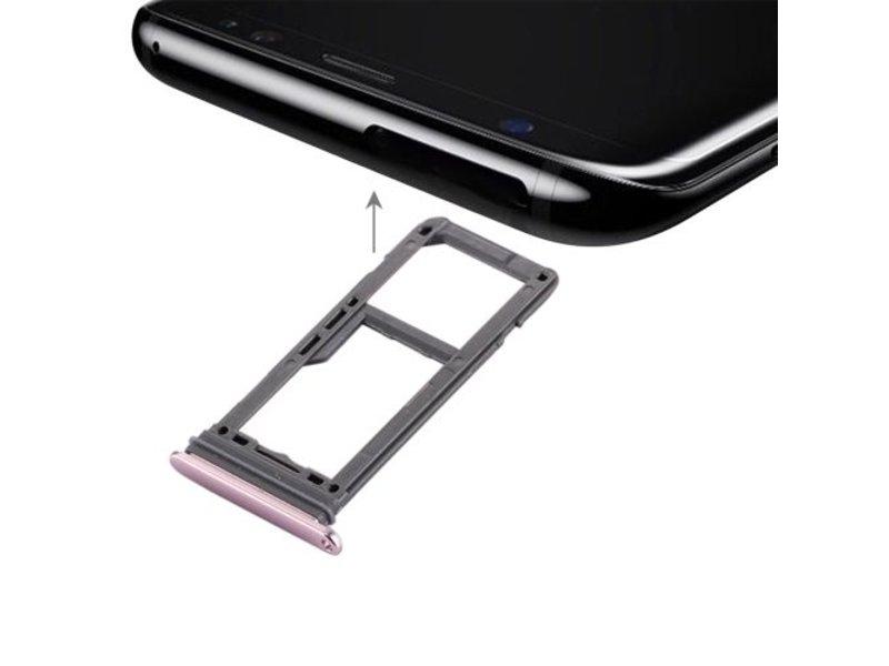 Dual simkaart houder voor Samsung Galaxy S8 PLUS (+) Roze / Pink simkaarthouder reparatie onderdeel