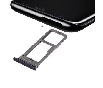 Dual simkaart houder voor Samsung Galaxy S8 PLUS (+) Zwart / Black simkaarthouder reparatie onderdeel