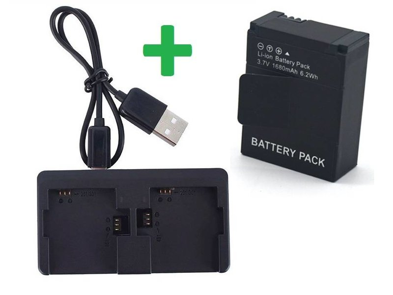 Dual Charger + Batterij voor GoPro Hero 3/3+ externe oplader accu