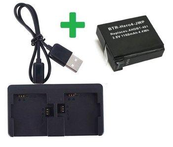 Dual Charger + Batterij voor GoPro Hero 4 externe oplader accu