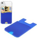 Super Handige Sticky Pouch Kaarthouder/Card Holder/Pasjes Houder universeel voor o.a. iPhone en Samsung BLAUW (case cover hoesje)