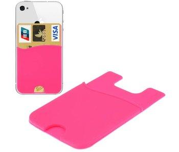 Super Handige Sticky Pouch Kaarthouder/Card Holder/Pasjes Houder universeel voor o.a. iPhone en Samsung ROZE (case cover hoesje)