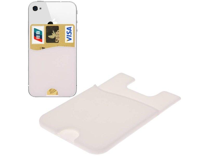 Super Handige Sticky Pouch Kaarthouder/Card Holder/Pasjes Houder universeel voor o.a. iPhone en Samsung WIT (case cover hoesje)