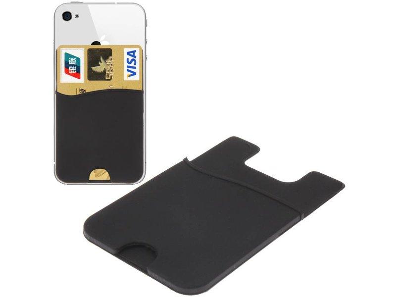 Super Handige Sticky Pouch Kaarthouder/Card Holder/Pasjes Houder universeel voor o.a. iPhone en Samsung ZWART (case cover hoesje)
