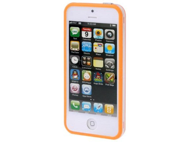 Bumper hoesje voor iPhone 5/5S/SE Oranje/Transparant premium case cover