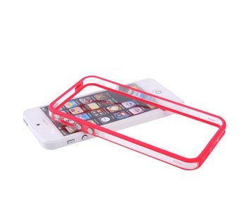 Bumper hoesje voor iPhone 5/5S/SE Rood/Transparant premium case cover
