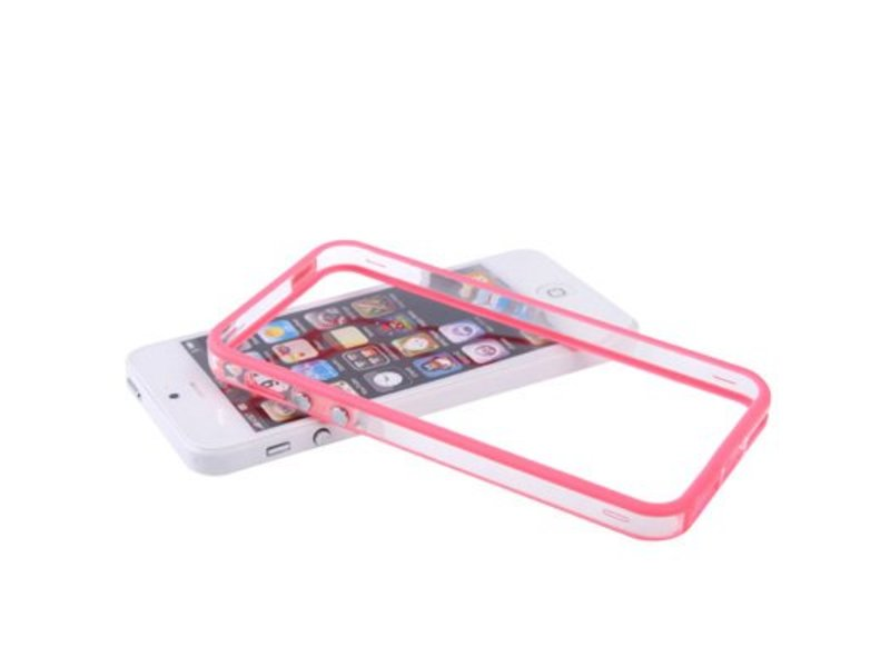 Bumper hoesje voor iPhone 5/5S/SE Roze/Transparant premium case cover