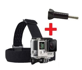 Hoofdband head strap met antislip hoofdbevestiging + power screw voor o.a. GoPro Hero 3/3+/4/5/6 en SJCAM