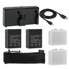 2x Accu / Batterij + Quickcharger GoPro Hero 4 (externe oplader/power pack) 7 in 1 power pack