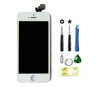 Compleet originele kwaliteit LCD scherm voor Apple iPhone 5 Wit + toolkit + tempered glass screenprotector