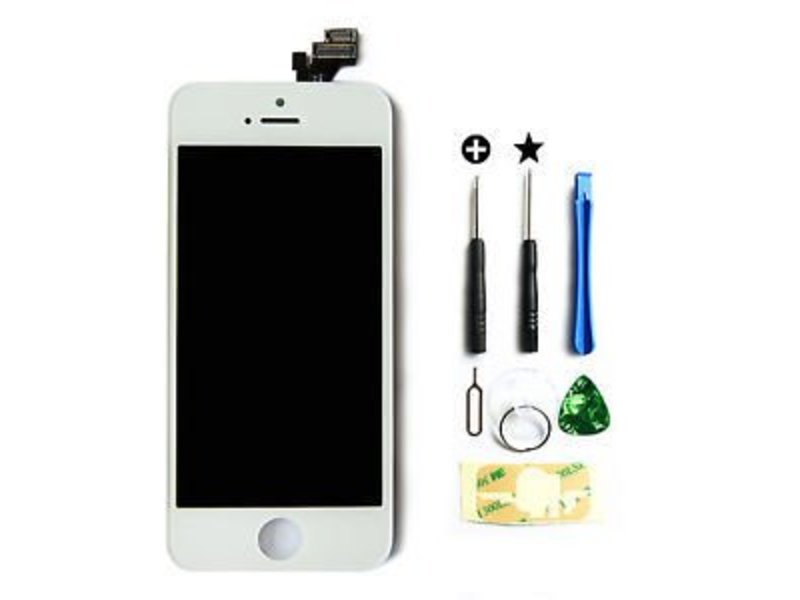 Compleet LCD/display/scherm voor Apple iPhone 5 wit + toolkit + tempered glass screenprotector