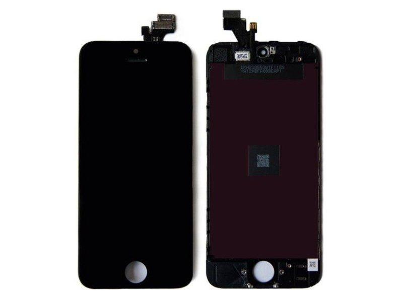 Compleet LCD/display/scherm voor Apple iPhone 5 zwart + toolkit + tempered glass screenprotector