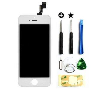 Compleet originele kwaliteit LCD scherm voor Apple iPhone 5S Wit + toolkit + tempered glass screenprotector