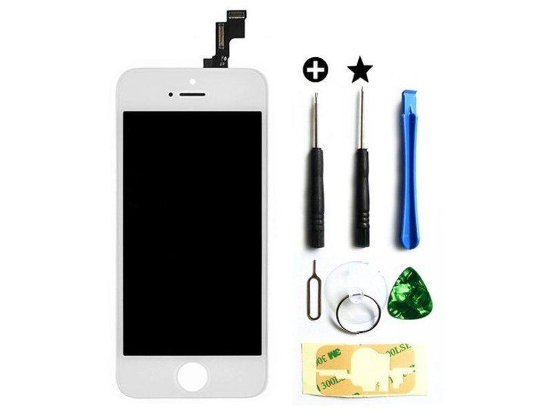 Compleet LCD/display/scherm voor Apple iPhone 5S wit + toolkit + tempered glass screenprotector