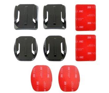 4x Mounts voor GoPro Hero bevestiging stickers 2x vlak en 2x gebogen met zelfklevende tape