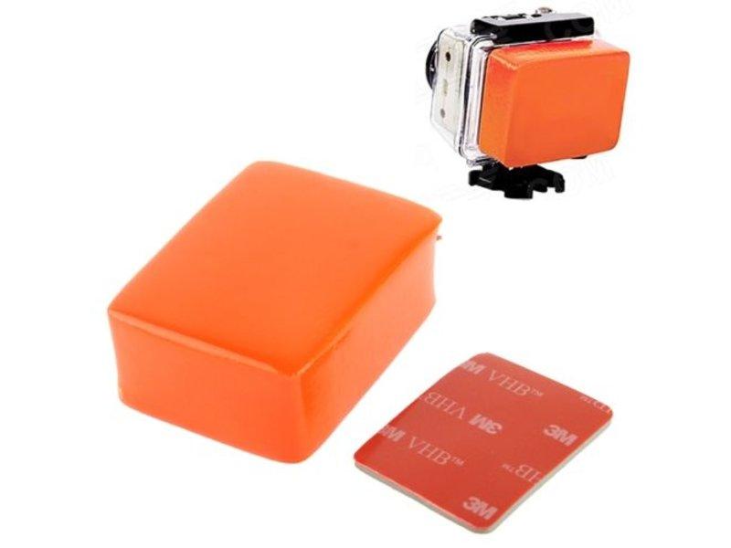 Floaty / Drijver oranje inclusief 3M strip bevestiging voor GoPro en andere actiecamera's