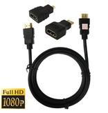 HDMI kabel 1,5 meter met adapters MICRO en MINI HDMI universeel (cable)