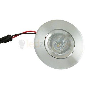 1 watt complete led inbouwspot (rond) - Warm-wit - Kantelbaar - 90 lumen