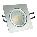 GU10 inbouwspot van geborsteld aluminium (vierkant) met 3, 5, of 7 watt led lamp