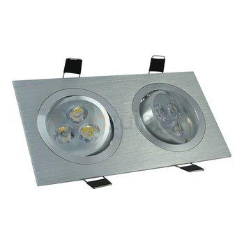 2 x 3 watt kantelbare led inbouwspot - Dimbaar - Warm-wit- 540 lumen - Geborsteld aluminium