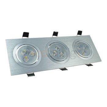 3 x 3 watt kantelbare led inbouwspot - Dimbaar - Warm-wit- 810 lumen - Geborsteld aluminium