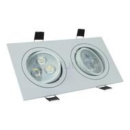 2 x 3 watt kantelbare led inbouwspot - Dimbaar - Warm-wit- 540 lumen - Wit