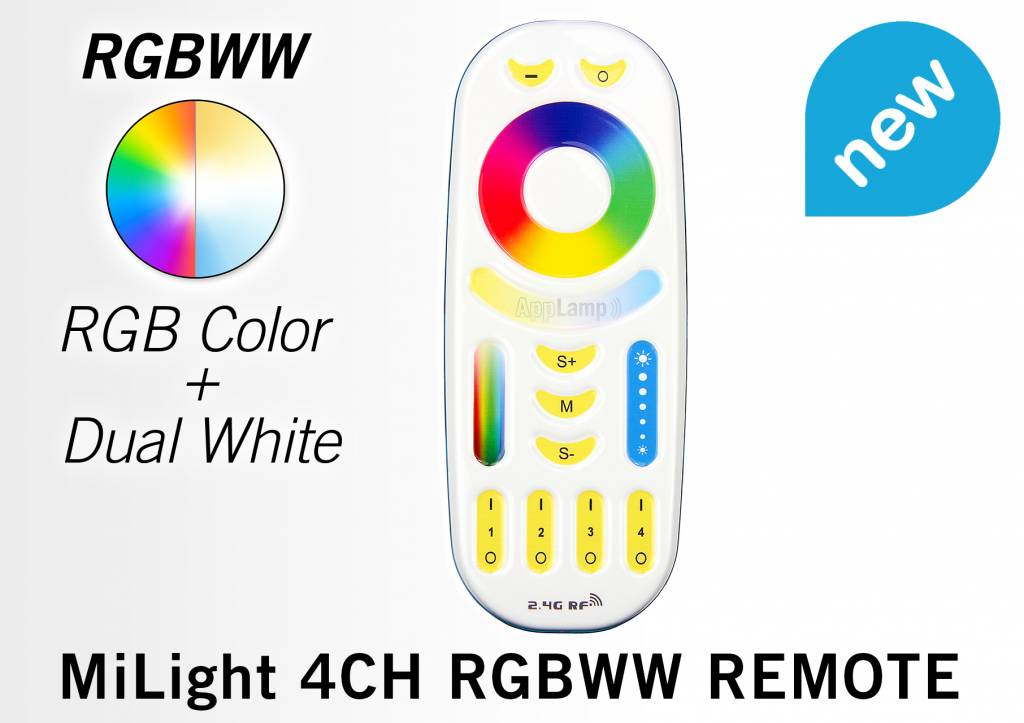 Touch Remote RGB+Dual White,  Mi-Light  RGBWW met 4-kanalen