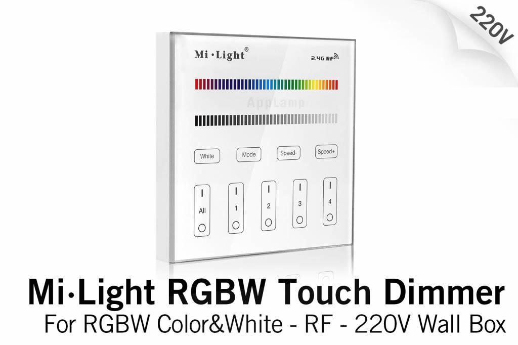 MiLight Inbouw RF Touch Dimmer Paneel 4-kanaals, RGBW Verlichting, 220V