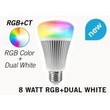 Wifi LED Lamp Mi-Light 8W RGB & Dual White E27. Op afstand bedienbaar