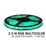 RGB LED strip 2.5 meter, 30 leds p.m. type 5050 12V