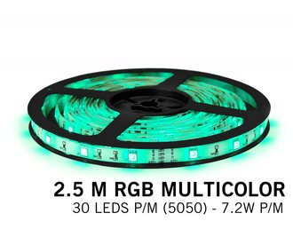 RGB Led Strip | 2,5m Type 5050 12V 7,2W pm IP65 Losse Strip