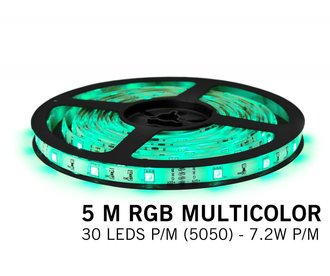 RGB Led Strip | 5m Type 5050 12V 7,2W pm IP65 Losse Strip