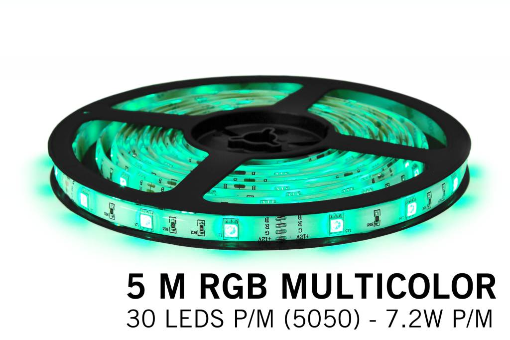 RGB LED strip 5 meter, 30 leds p.m. type 5050 12V, IP65 of IP20