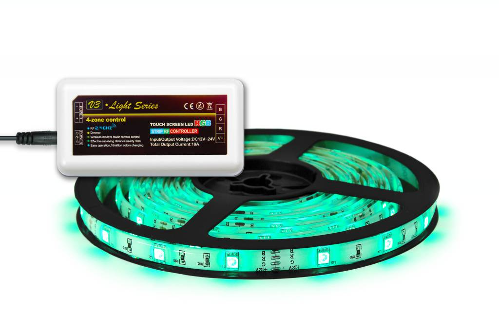 Mi·Light RGB Led Strip uitbreidingsset met controller en adapter | 5m Type 5050 12V 7,2W pm IP65