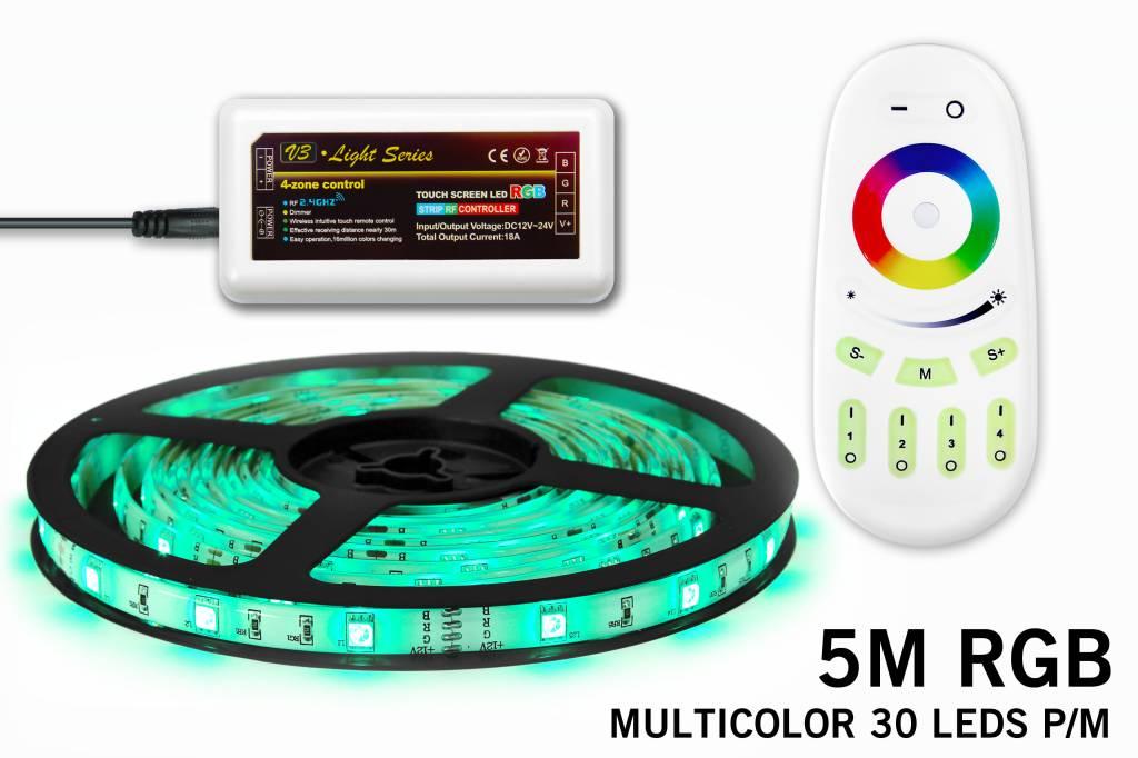 Mi·Light RGB Led Strip met afstandsbediening | 5m Type 5050 12V 7,2W pm IP65