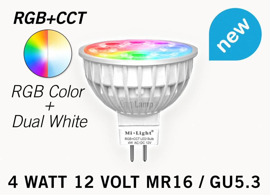 MiLight MR16 GU5.3 LED spotje, RGB Kleur en Dual White, 12V halogeen vervanger, RF, 4W