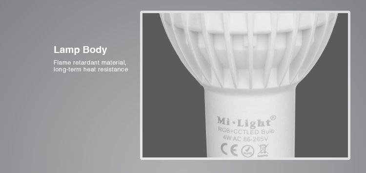 GU10 LED Spot Mi-Light 4W RGBWW Kleur + Dual White. 220V